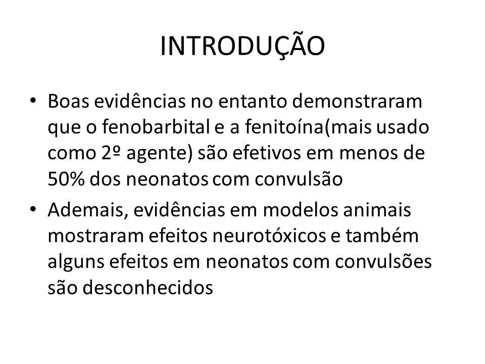 INTRODUÇÃO Boas evidências no entanto demonstraram que o fenobarbital e a fenitoína(mais usado como 2º agente) são efetivos em menos de 50% dos neonatos com convulsão Ademais, evidências em modelos animais mostraram efeitos neurotóxicos e também alguns efeitos em neonatos com convulsões são desconhecidos