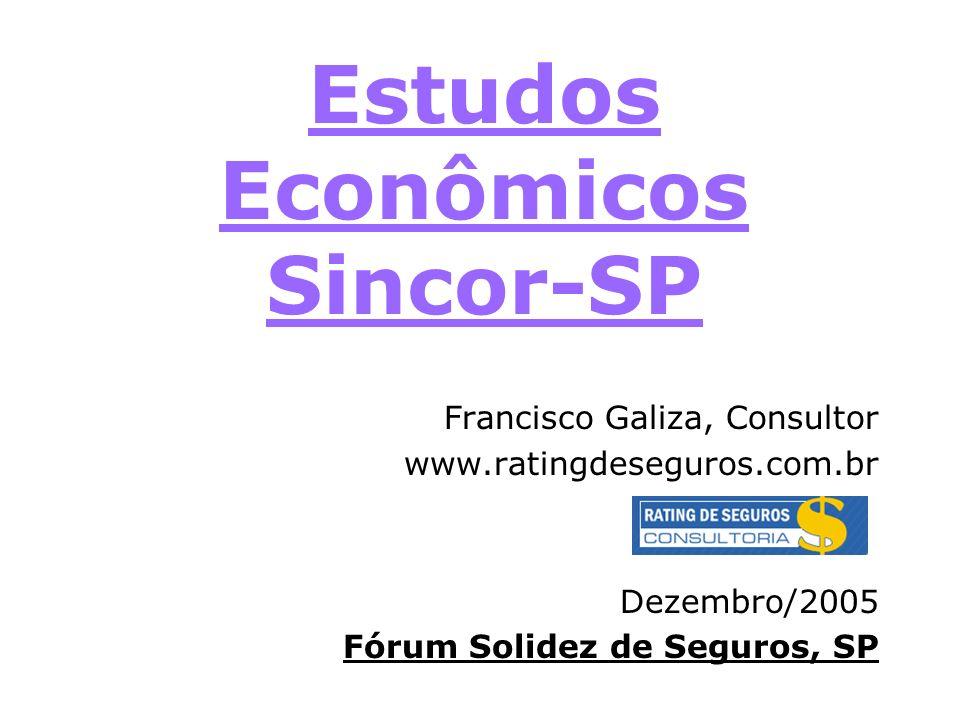 Estudos Econômicos Sincor-SP Francisco Galiza, Consultor www.ratingdeseguros.com.br Dezembro/2005 Fórum Solidez de Seguros, SP