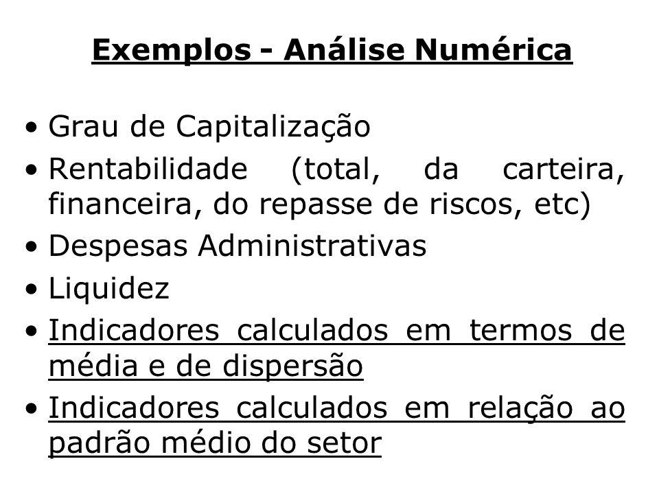 Exemplos - Análise Numérica Grau de Capitalização Rentabilidade (total, da carteira, financeira, do repasse de riscos, etc) Despesas Administrativas L
