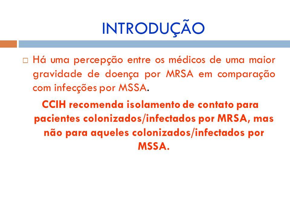 Há uma percepção entre os médicos de uma maior gravidade de doença por MRSA em comparação com infecções por MSSA. CCIH recomenda isolamento de contato