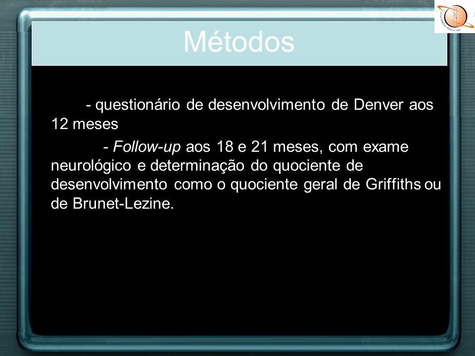 - questionário de desenvolvimento de Denver aos 12 meses - Follow-up aos 18 e 21 meses, com exame neurológico e determinação do quociente de desenvolv