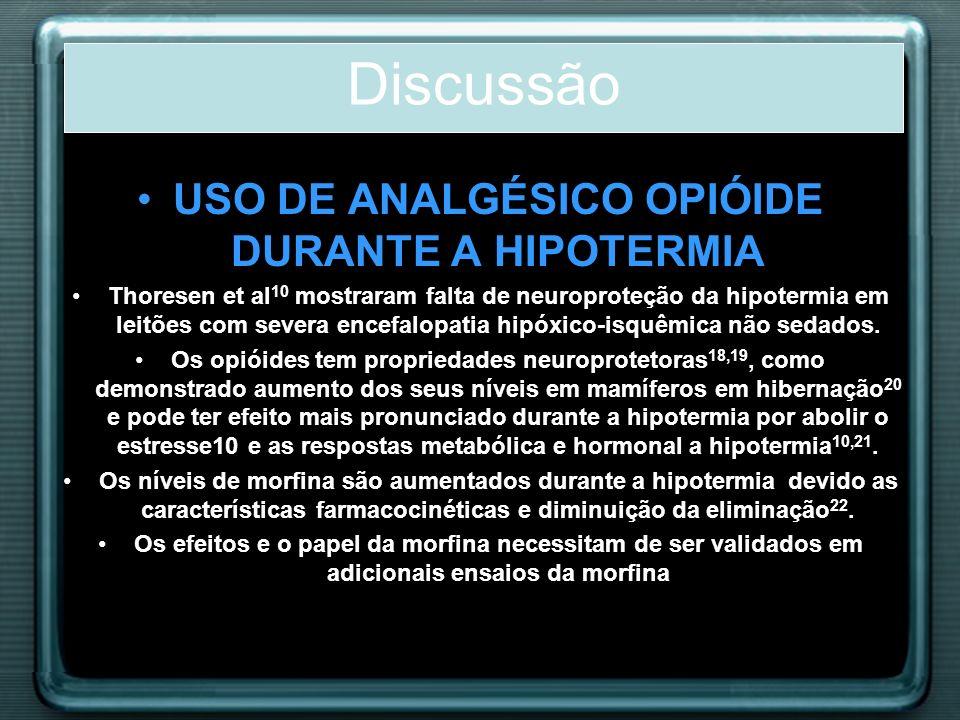 USO DE ANALGÉSICO OPIÓIDE DURANTE A HIPOTERMIA Thoresen et al 10 mostraram falta de neuroproteção da hipotermia em leitões com severa encefalopatia hi