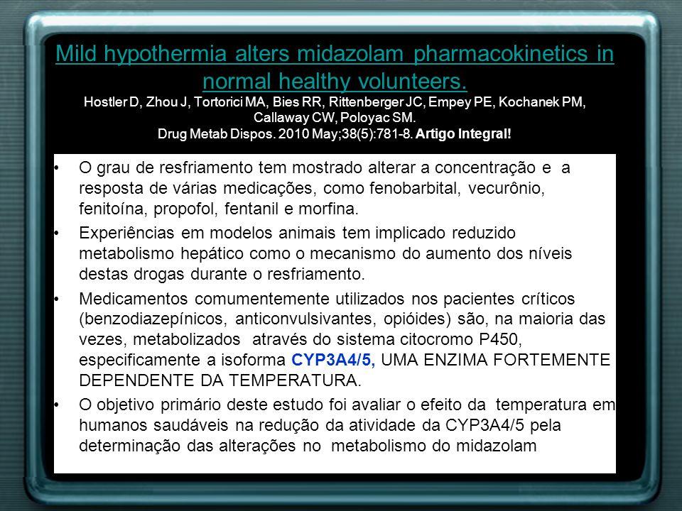 O grau de resfriamento tem mostrado alterar a concentração e a resposta de várias medicações, como fenobarbital, vecurônio, fenitoína, propofol, fenta