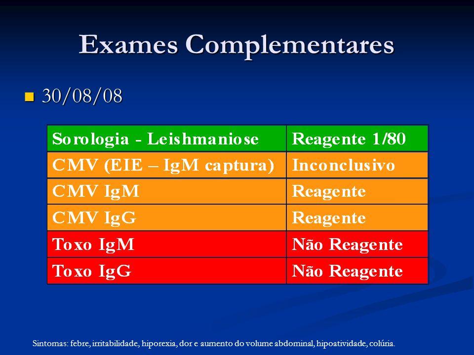 Exames Complementares 30/08/08 30/08/08 Sintomas: febre, irritabilidade, hiporexia, dor e aumento do volume abdominal, hipoatividade, colúria.