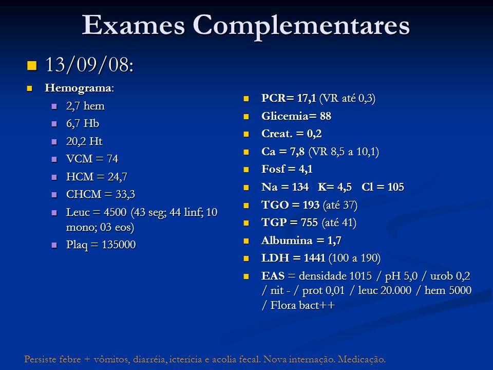 13/09/08: 13/09/08: Hemograma: Hemograma: 2,7 hem 2,7 hem 6,7 Hb 6,7 Hb 20,2 Ht 20,2 Ht VCM = 74 VCM = 74 HCM = 24,7 HCM = 24,7 CHCM = 33,3 CHCM = 33,