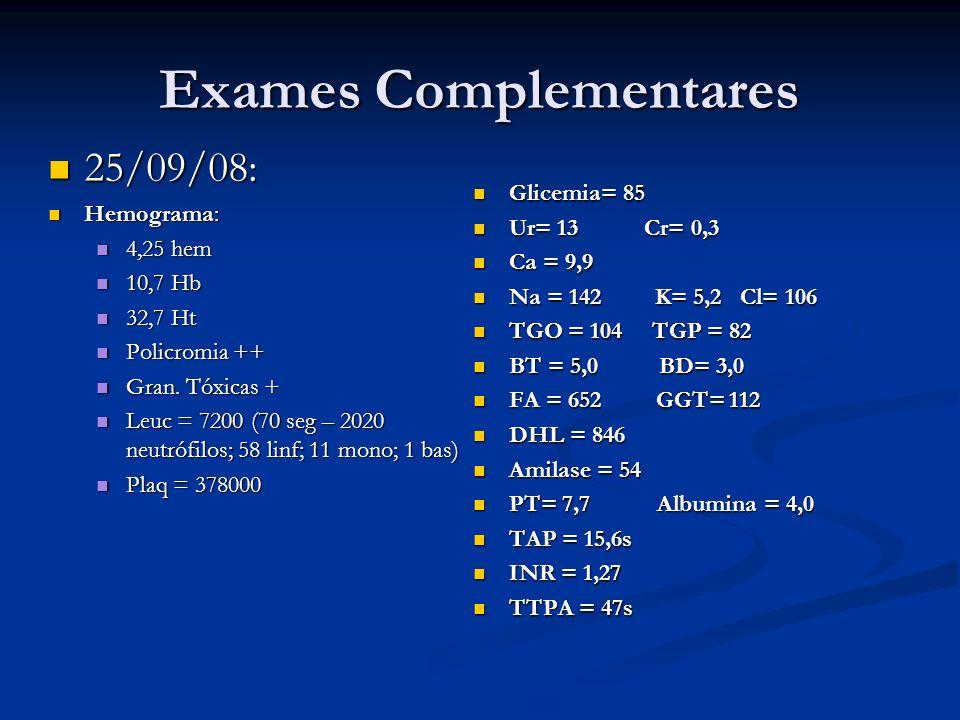 Exames Complementares 25/09/08: 25/09/08: Hemograma: Hemograma: 4,25 hem 4,25 hem 10,7 Hb 10,7 Hb 32,7 Ht 32,7 Ht Policromia ++ Policromia ++ Gran. Tó
