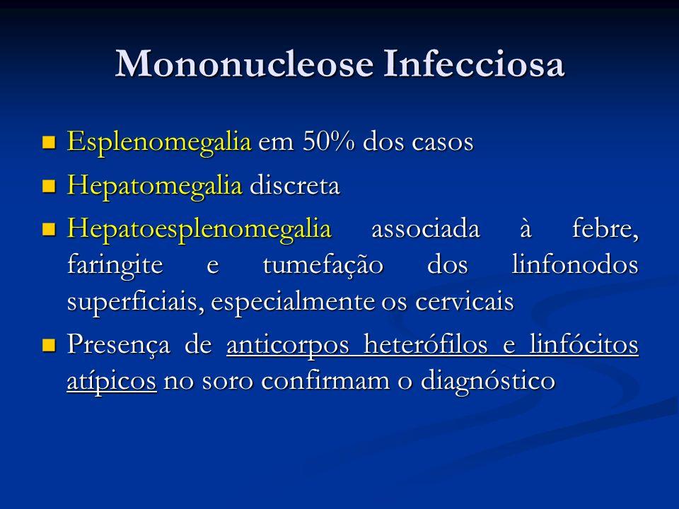 Mononucleose Infecciosa Esplenomegalia em 50% dos casos Esplenomegalia em 50% dos casos Hepatomegalia discreta Hepatomegalia discreta Hepatoesplenomeg