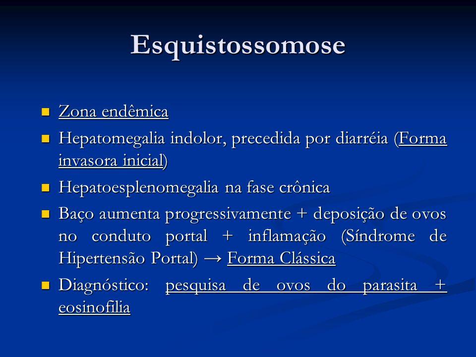 Esquistossomose Zona endêmica Zona endêmica Hepatomegalia indolor, precedida por diarréia (Forma invasora inicial) Hepatomegalia indolor, precedida po
