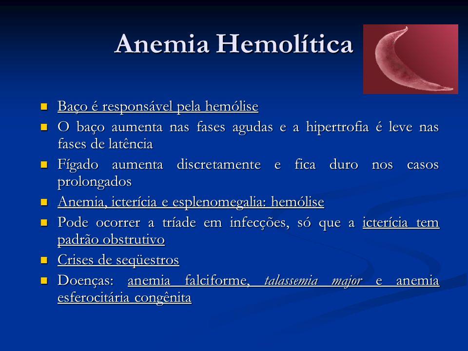 Anemia Hemolítica Baço é responsável pela hemólise Baço é responsável pela hemólise O baço aumenta nas fases agudas e a hipertrofia é leve nas fases d