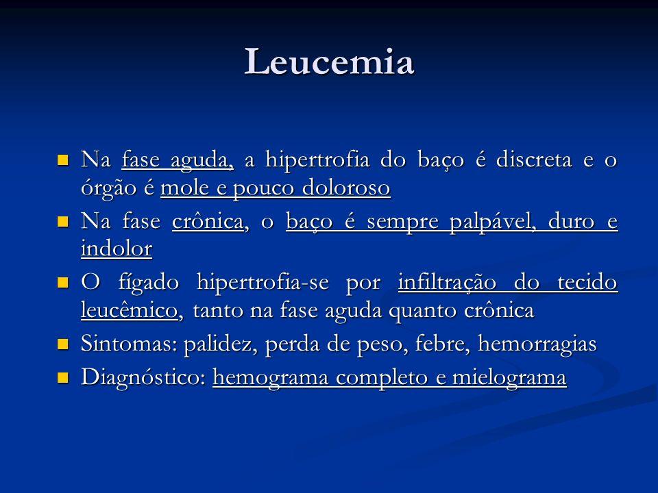 Leucemia Na fase aguda, a hipertrofia do baço é discreta e o órgão é mole e pouco doloroso Na fase aguda, a hipertrofia do baço é discreta e o órgão é