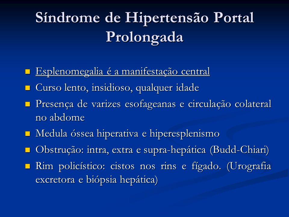 Síndrome de Hipertensão Portal Prolongada Esplenomegalia é a manifestação central Esplenomegalia é a manifestação central Curso lento, insidioso, qual