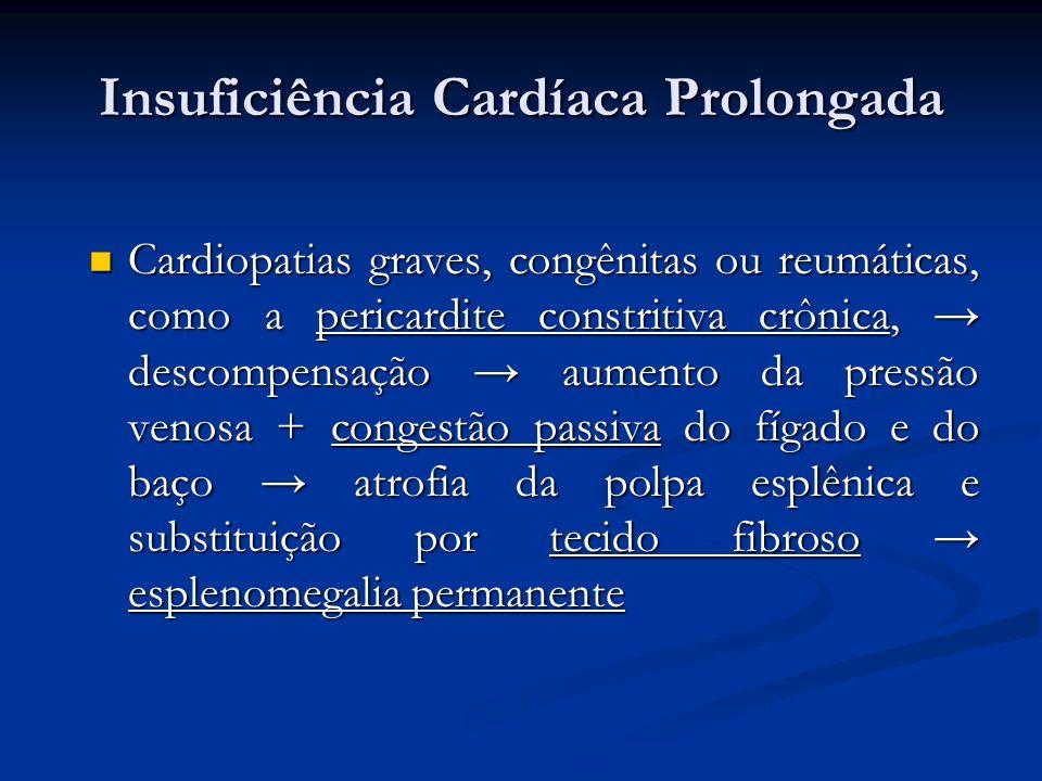 Insuficiência Cardíaca Prolongada Cardiopatias graves, congênitas ou reumáticas, como a pericardite constritiva crônica, descompensação aumento da pre