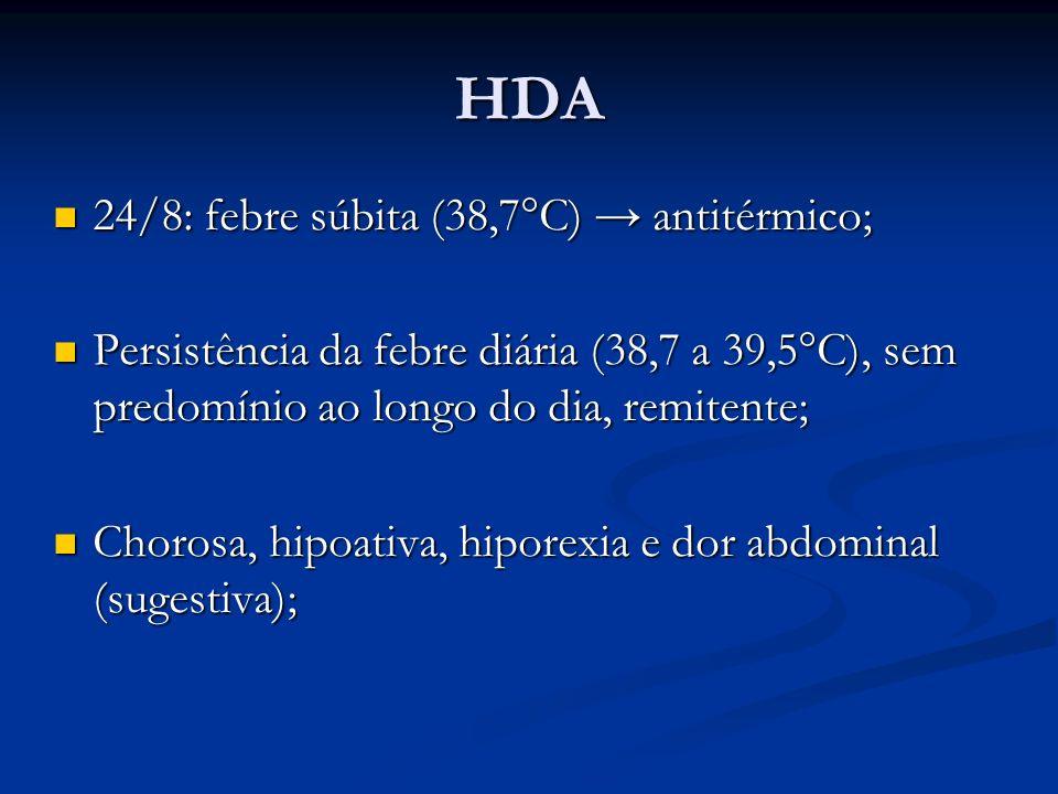 HDA 24/8: febre súbita (38,7°C) antitérmico; 24/8: febre súbita (38,7°C) antitérmico; Persistência da febre diária (38,7 a 39,5°C), sem predomínio ao