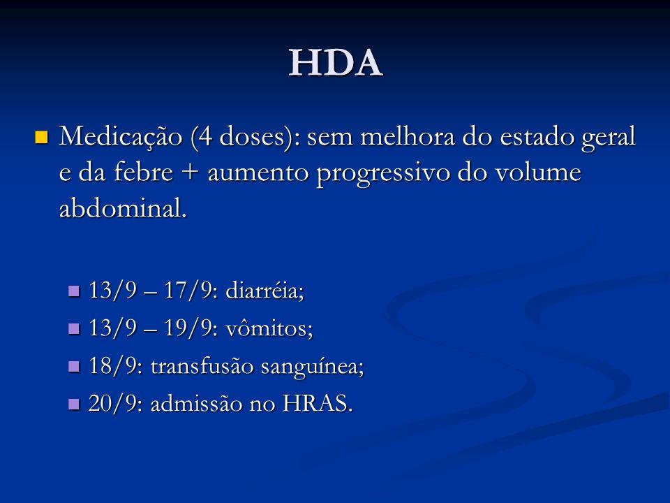 HDA Medicação (4 doses): sem melhora do estado geral e da febre + aumento progressivo do volume abdominal. Medicação (4 doses): sem melhora do estado
