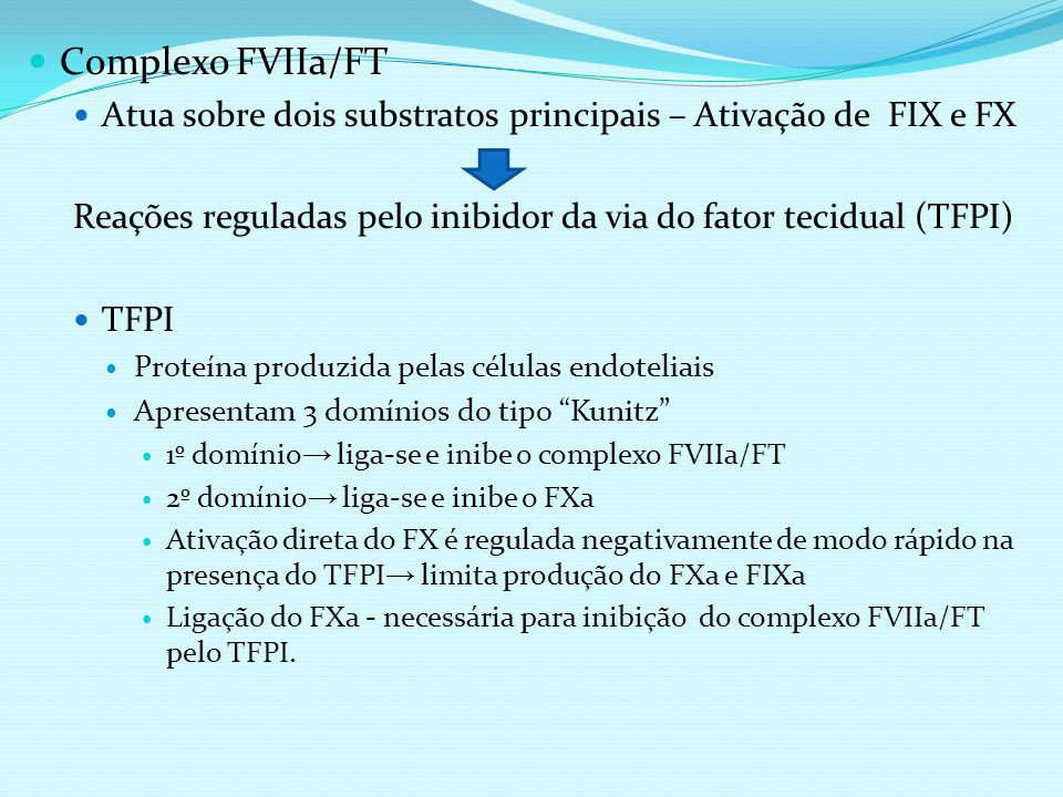 Complexo FVIIa/FT Atua sobre dois substratos principais – Ativação de FIX e FX Reações reguladas pelo inibidor da via do fator tecidual (TFPI) TFPI Pr