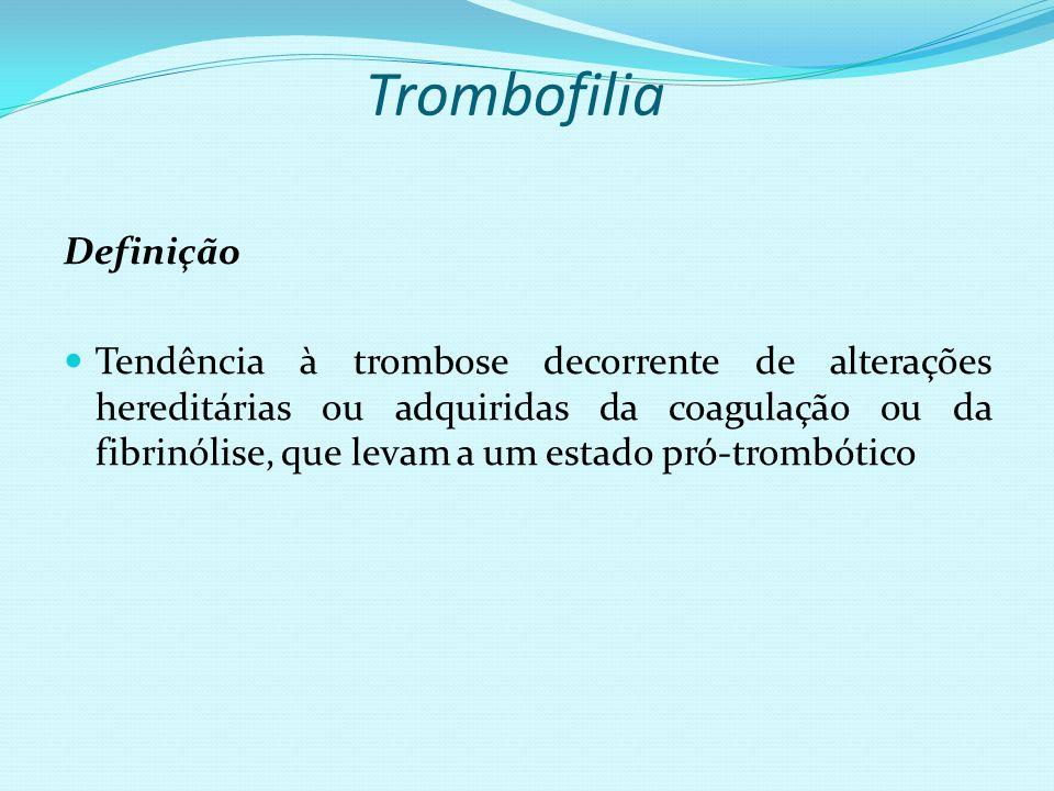 Trombofilia Definição Tendência à trombose decorrente de alterações hereditárias ou adquiridas da coagulação ou da fibrinólise, que levam a um estado