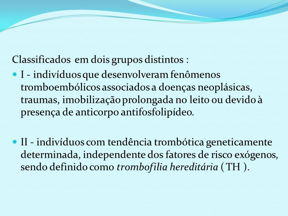 Classificados em dois grupos distintos : I - indivíduos que desenvolveram fenômenos tromboembólicos associados a doenças neoplásicas, traumas, imobili