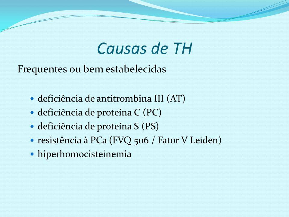 Causas de TH Frequentes ou bem estabelecidas deficiência de antitrombina III (AT) deficiência de proteína C (PC) deficiência de proteína S (PS) resist