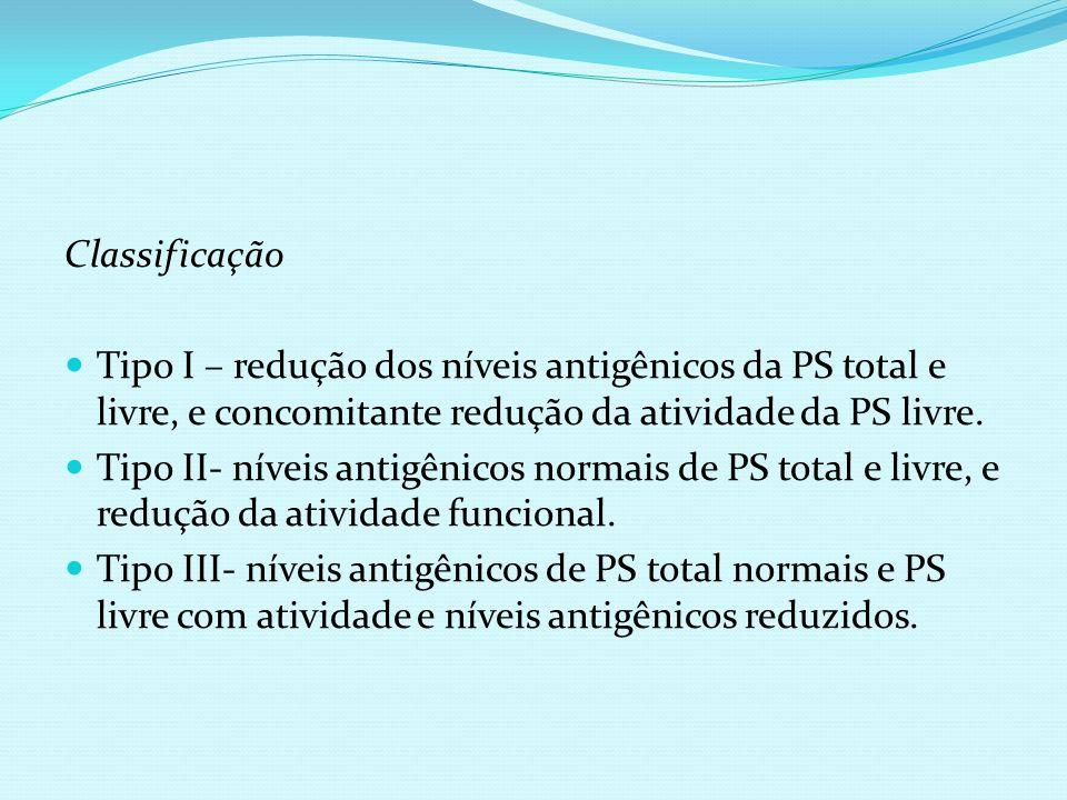 Classificação Tipo I – redução dos níveis antigênicos da PS total e livre, e concomitante redução da atividade da PS livre. Tipo II- níveis antigênico
