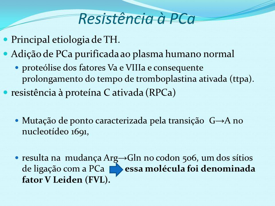 Resistência à PCa Principal etiologia de TH. Adição de PCa purificada ao plasma humano normal proteólise dos fatores Va e VIIIa e consequente prolonga