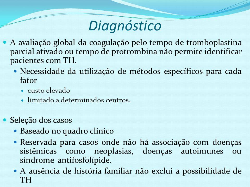 Diagnóstico A avaliação global da coagulação pelo tempo de tromboplastina parcial ativado ou tempo de protrombina não permite identificar pacientes co