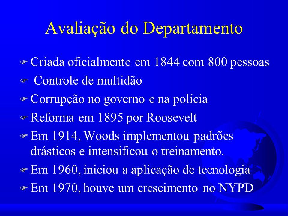 Avaliação do Departamento F Criada oficialmente em 1844 com 800 pessoas F Controle de multidão F Corrupção no governo e na polícia F Reforma em 1895 por Roosevelt F Em 1914, Woods implementou padrões drásticos e intensificou o treinamento.