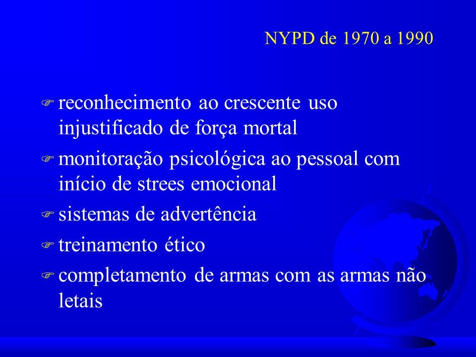 NYPD de 1970 a 1990 F reconhecimento ao crescente uso injustificado de força mortal F monitoração psicológica ao pessoal com início de strees emocional F sistemas de advertência F treinamento ético F completamento de armas com as armas não letais
