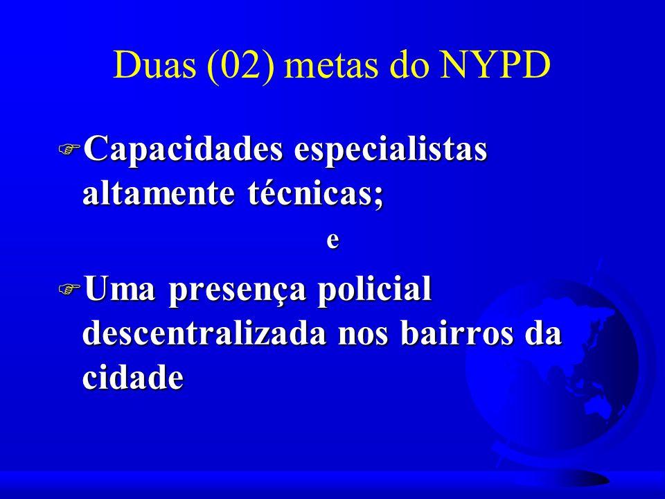 Duas (02) metas do NYPD F Capacidades especialistas altamente técnicas; e F Uma presença policial descentralizada nos bairros da cidade