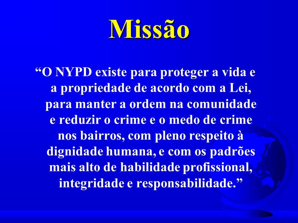 Missão O NYPD existe para proteger a vida e a propriedade de acordo com a Lei, para manter a ordem na comunidade e reduzir o crime e o medo de crime nos bairros, com pleno respeito à dignidade humana, e com os padrões mais alto de habilidade profissional, integridade e responsabilidade.