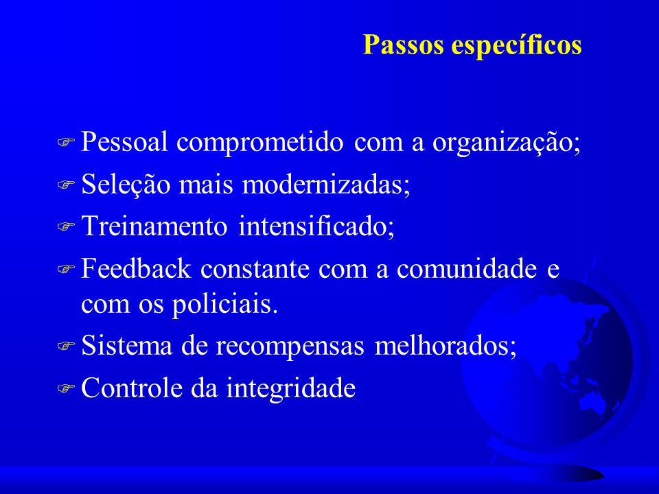 Passos específicos F Pessoal comprometido com a organização; F Seleção mais modernizadas; F Treinamento intensificado; F Feedback constante com a comunidade e com os policiais.