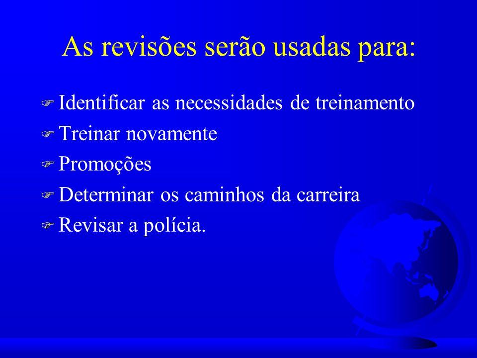 As revisões serão usadas para: F Identificar as necessidades de treinamento F Treinar novamente F Promoções F Determinar os caminhos da carreira F Revisar a polícia.