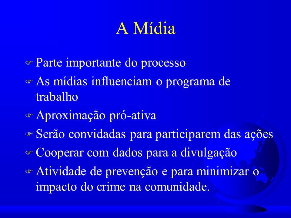 A Mídia F Parte importante do processo F As mídias influenciam o programa de trabalho F Aproximação pró-ativa F Serão convidadas para participarem das ações F Cooperar com dados para a divulgação F Atividade de prevenção e para minimizar o impacto do crime na comunidade.