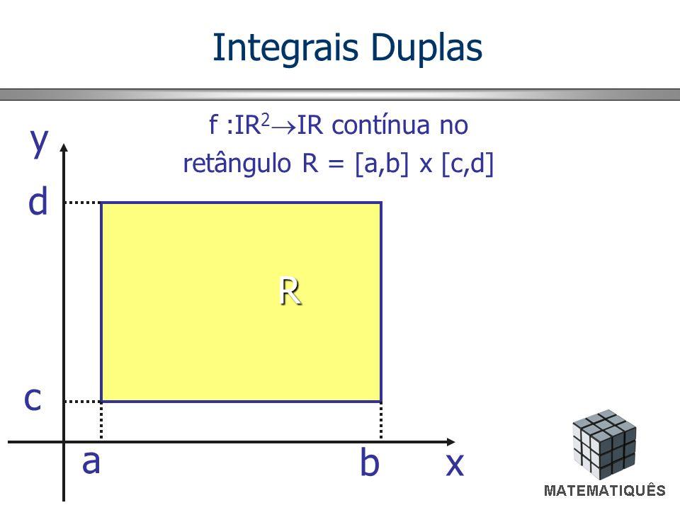 f 0 em R Q = {(x,y,z)/(x,y) R e 0 z f(x,y)} x y z Q R Q Volume de Q = V = ? Integrais Duplas