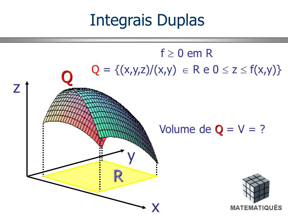 Partição de R xixi x b a x d c R y x1x1 x2x2 x i-1 y1y1 y2y2 y j-1 yjyj y R ij (x ij, y ij ) Integrais Duplas