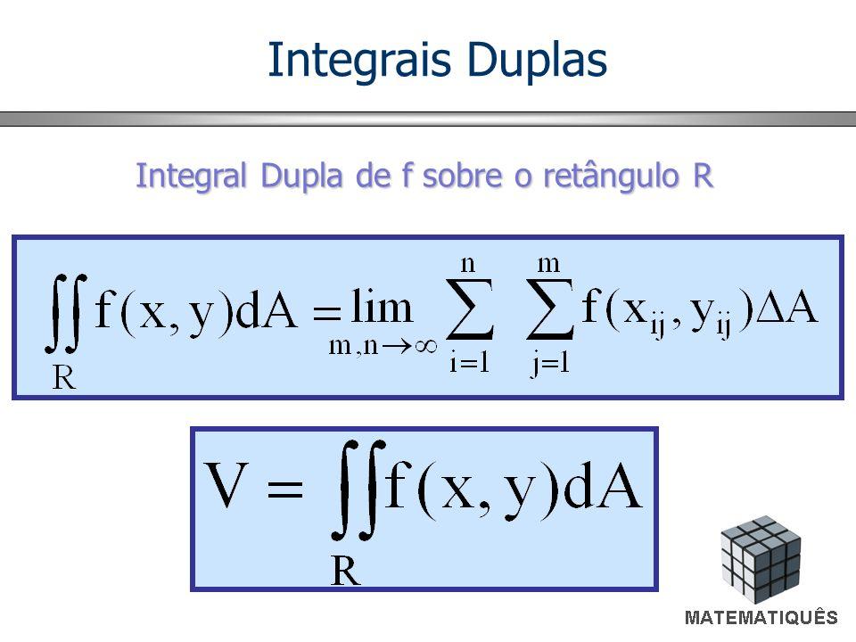 Cálculo de Integrais Duplas a b x y h(x) g(x) x A Se f (x, y) é contínua em A = {(x, y) / x em [a, b] e h(x) y g(x)}, a integral dupla é igual a integral iterada.