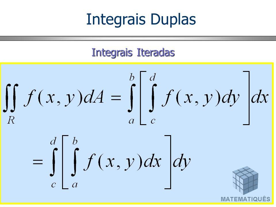 Integrais Duplas em Regiões Genéricas 1) Regiões inscritas em faixas verticais D = { (x,y) | a < x < b, g 1 (x) < y < g 2 (x) } x y 0 b a y = g 1 (x) y = g 2 (x) D Integrais Duplas