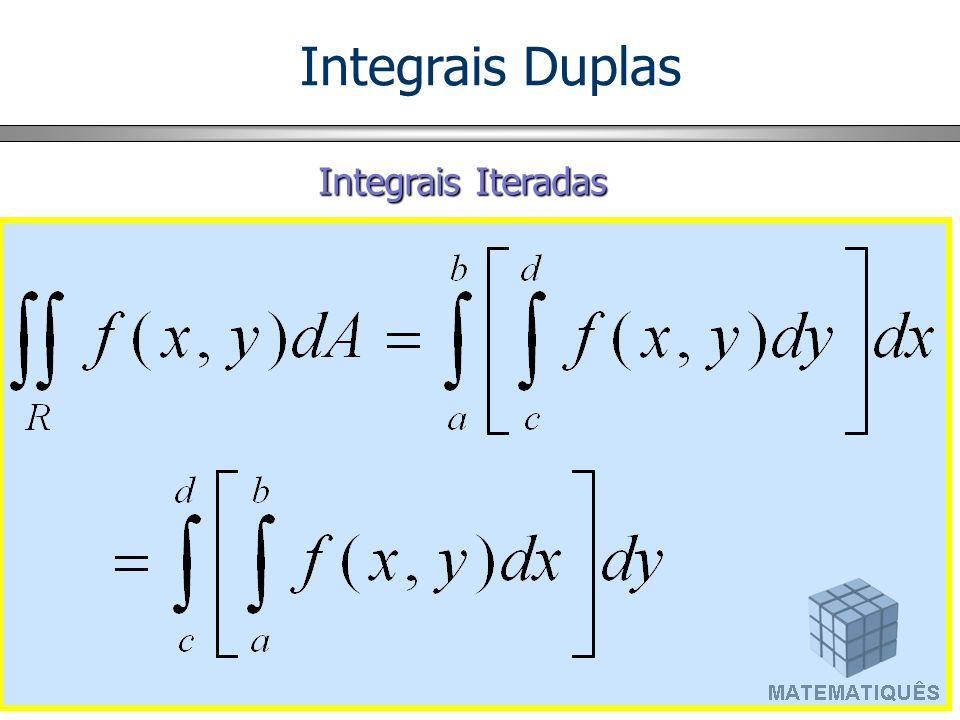 Cálculo de Integrais Duplas d x y c h(y) g(y) y A Se f (x, y) é contínua em A = {(x, y) / y em [c, d] e h(y) x g(y)}, a integral dupla é igual a integral iterada.