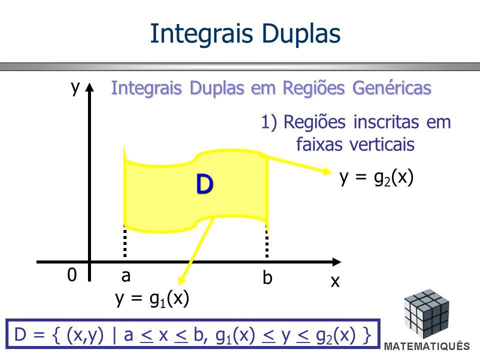 Integrais Duplas em Regiões Genéricas 1) Regiões inscritas em faixas horizontais D = { (x,y) | c < y < d, h 1 (y) < x < h 2 (y) } x y 0 d c x = h 1 (y) x = h 2 (y) D Integrais Duplas