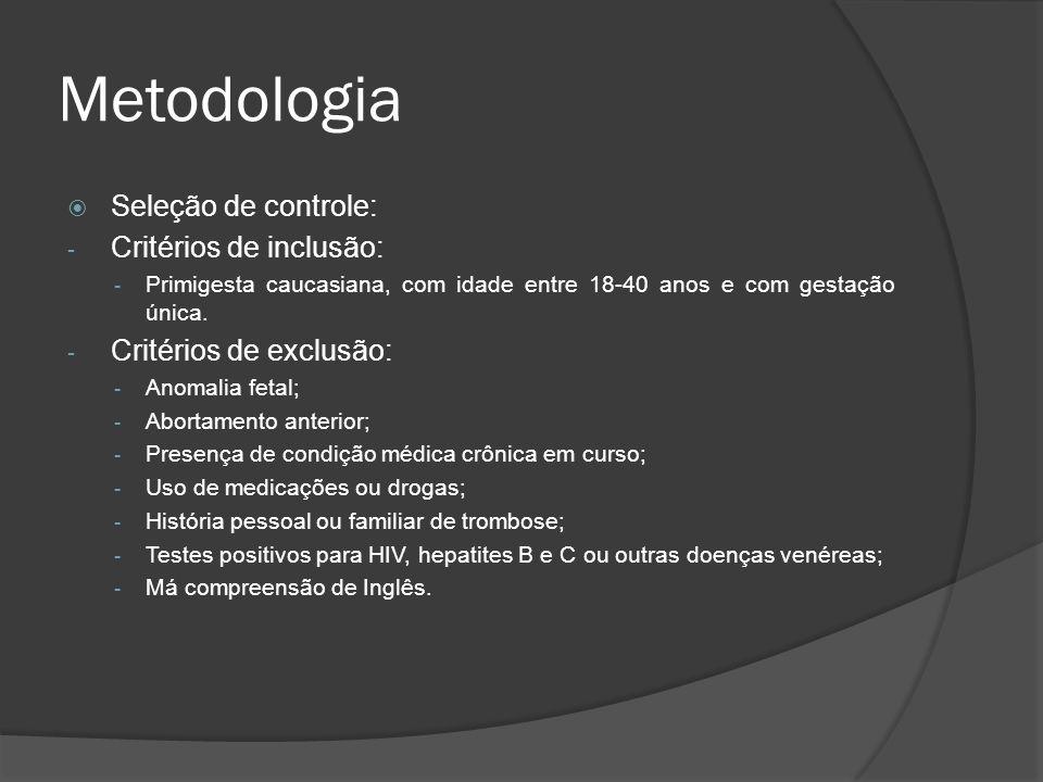 Metodologia Seleção de controle: - Critérios de inclusão: - Primigesta caucasiana, com idade entre 18-40 anos e com gestação única. - Critérios de exc