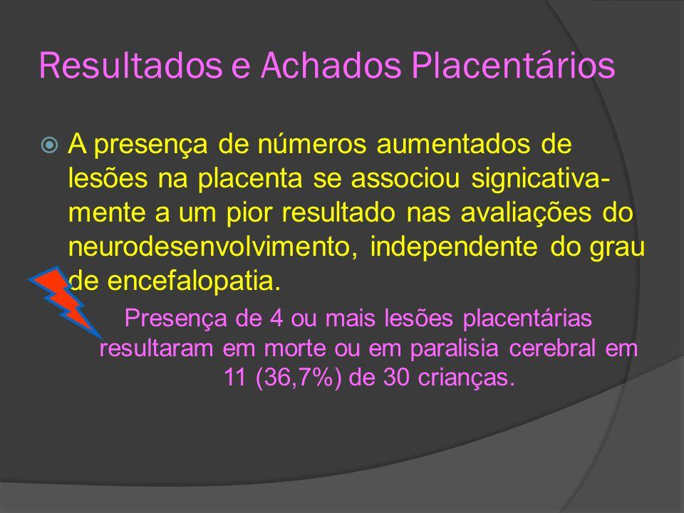 Resultados e Achados Placentários A presença de números aumentados de lesões na placenta se associou signicativa- mente a um pior resultado nas avalia