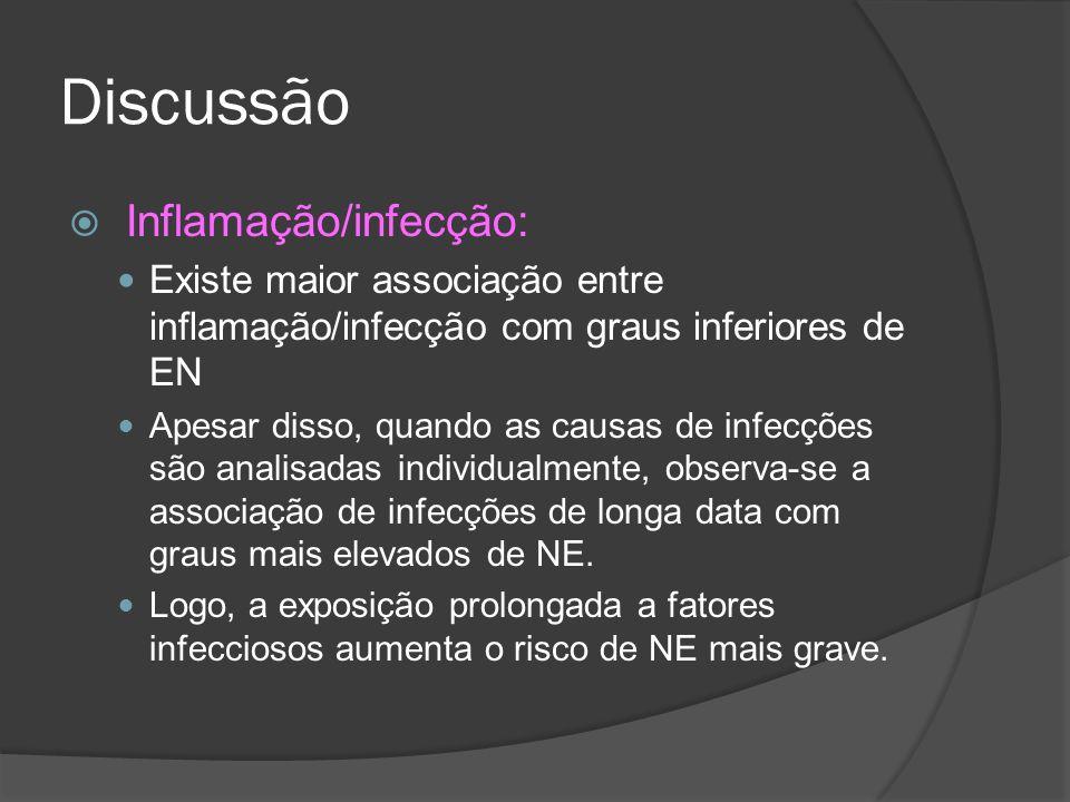 Discussão Inflamação/infecção: Existe maior associação entre inflamação/infecção com graus inferiores de EN Apesar disso, quando as causas de infecçõe