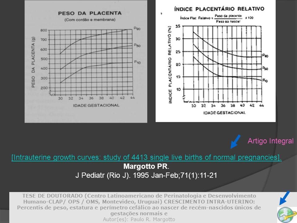 [Intrauterine growth curves: study of 4413 single live births of normal pregnancies]. Margotto PR. J Pediatr (Rio J). 1995 Jan-Feb;71(1):11-21 Artigo
