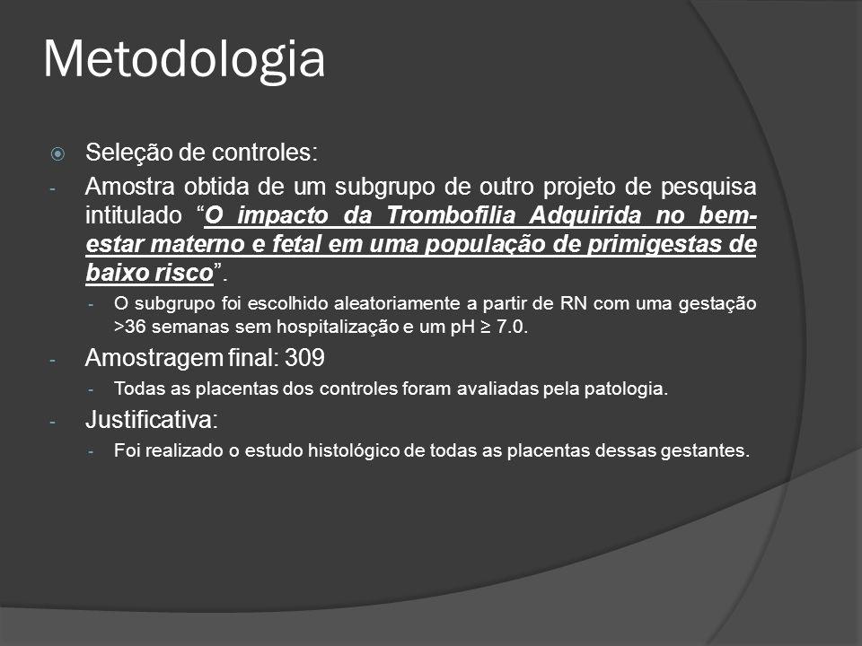 Metodologia Seleção de controles: - Amostra obtida de um subgrupo de outro projeto de pesquisa intitulado O impacto da Trombofilia Adquirida no bem- e