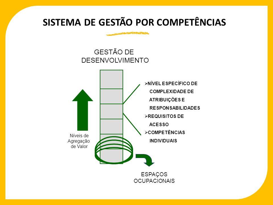 SISTEMA DE GESTÃO POR COMPETÊNCIAS GESTÃO DE DESENVOLVIMENTO Níveis de Agregação de Valor NÍVEL ESPECÍFICO DE COMPLEXIDADE DE ATRIBUIÇÕES E RESPONSABI