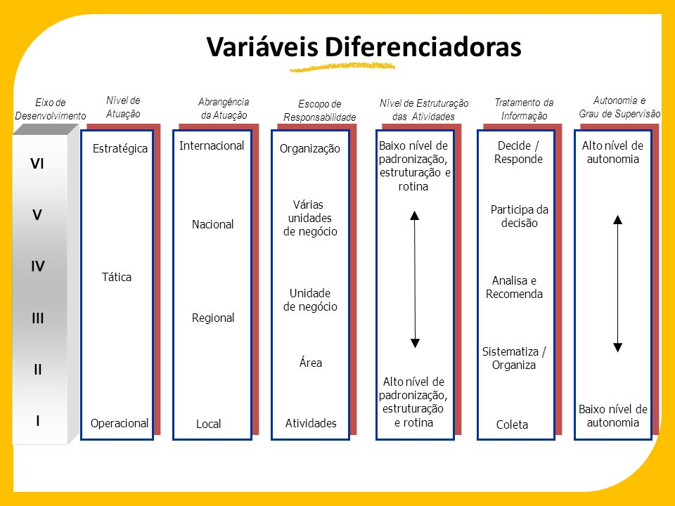 Autonomia e Grau de Supervisão Eixo de Desenvolvimento Estratégica Tática Operacional Organização Várias unidades de negócio Unidade de negócio Área A
