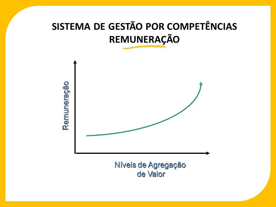 SISTEMA DE GESTÃO POR COMPETÊNCIAS REMUNERAÇÃO RemuneraçãoRemuneração Níveis de Agregação de Valor de Valor Níveis de Agregação de Valor de Valor