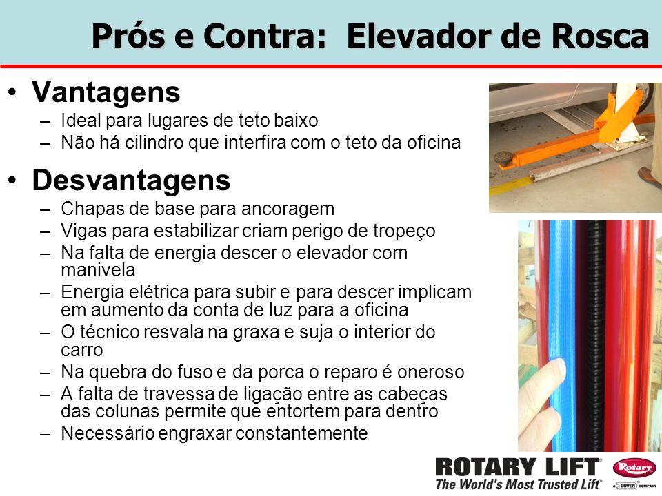 Prós e Contra: Elevador de Rosca Vantagens –Ideal para lugares de teto baixo –Não há cilindro que interfira com o teto da oficina Desvantagens –Chapas