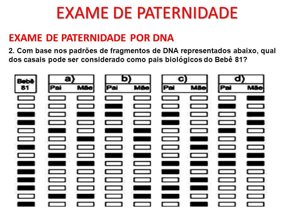 EXAME DE PATERNIDADE EXAME DE PATERNIDADE POR DNA 2. Com base nos padrões de fragmentos de DNA representados abaixo, qual dos casais pode ser consider