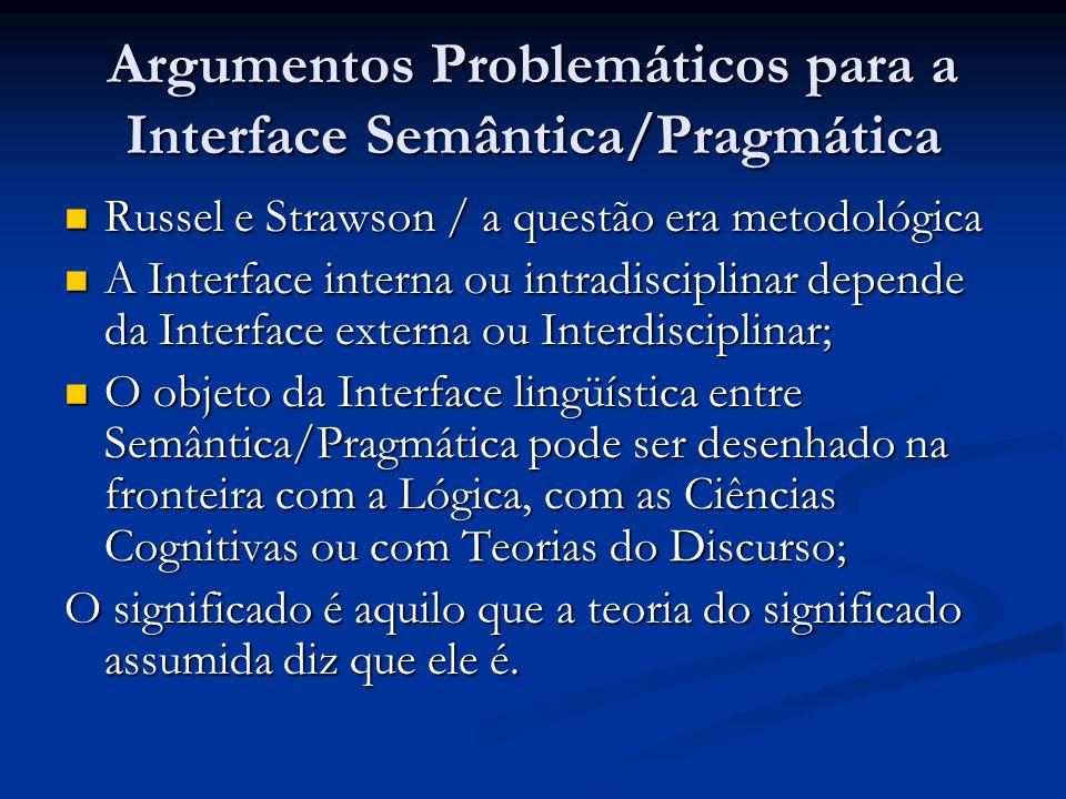 Argumentos Problemáticos para a Interface Semântica/Pragmática Russel e Strawson / a questão era metodológica Russel e Strawson / a questão era metodo