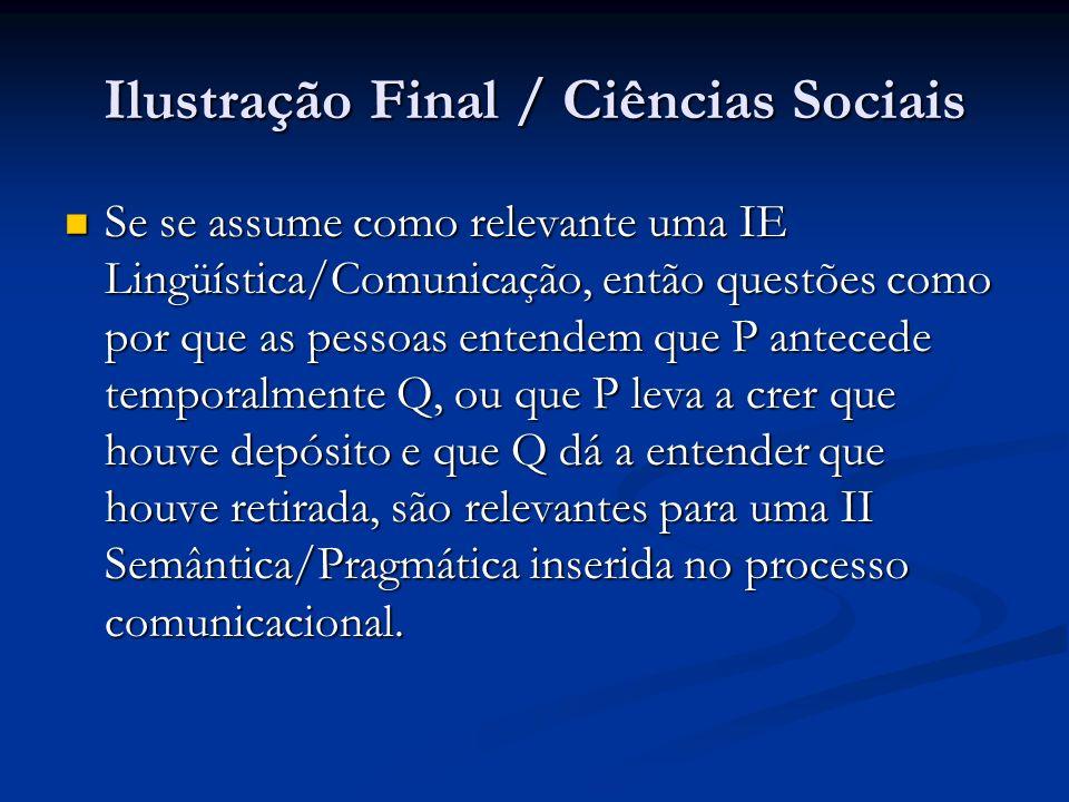 Ilustração Final / Ciências Sociais Se se assume como relevante uma IE Lingüística/Comunicação, então questões como por que as pessoas entendem que P